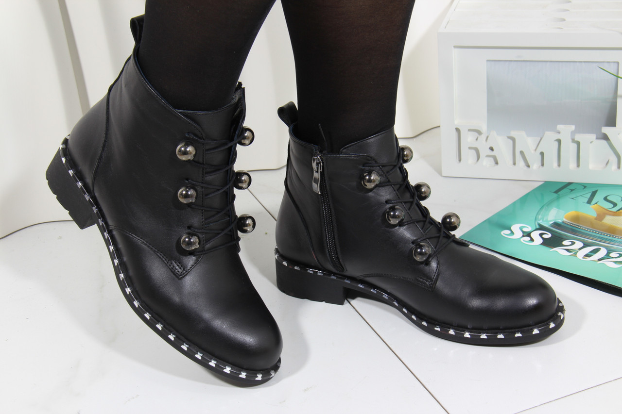 Элегантные кожаные ботиночки Турция ArasShoes 417-siyah
