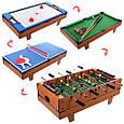 Настольная игра HG207-4 4 в 1, настольный футбол, настольный тенис, настольный хоккей, настольный бильярд, фото 2