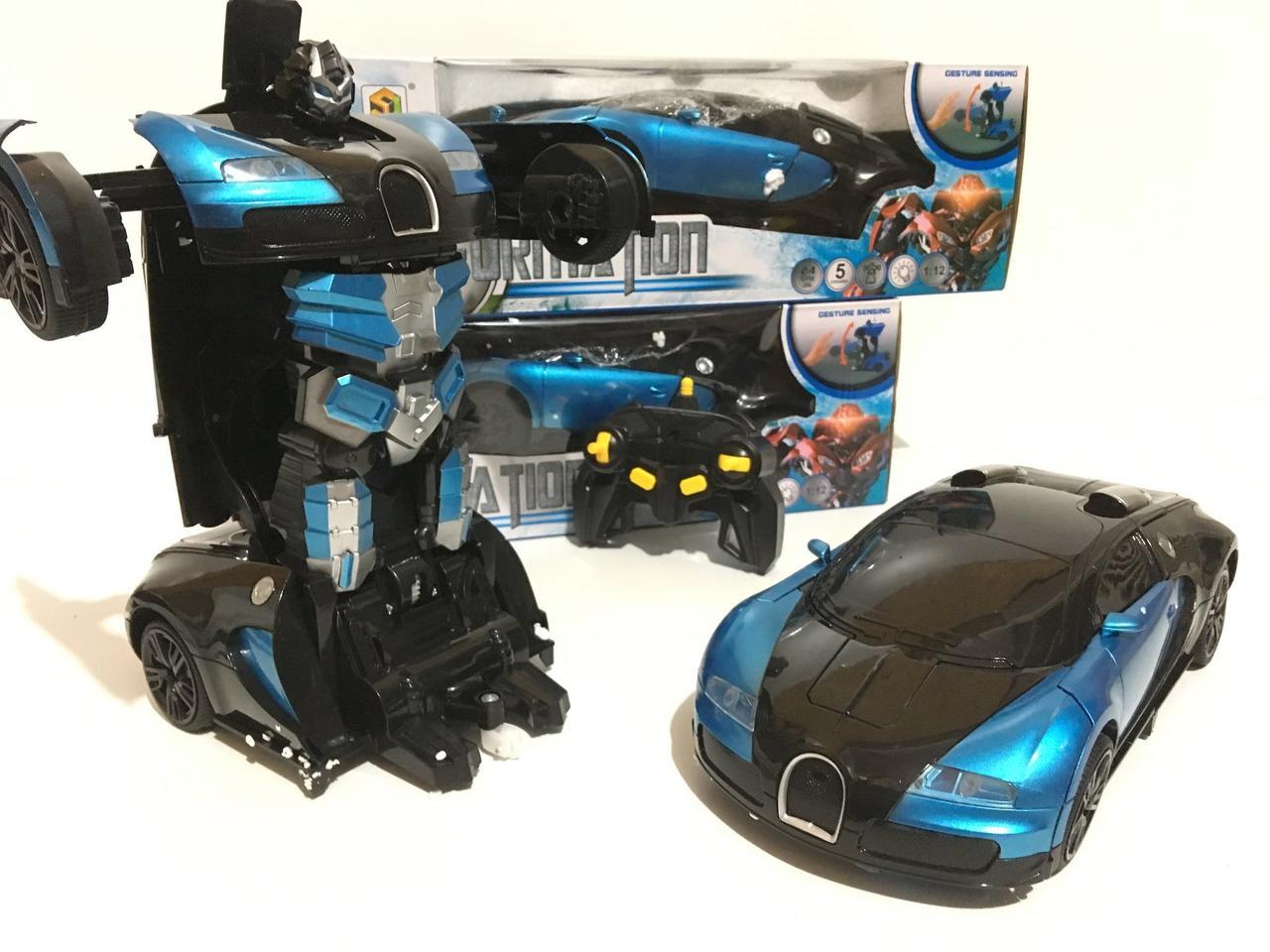 Машинка Трансформер Bugatti Robot Car Size 12 СИНЯЯ ART-2005/668 (24 шт/ящ)