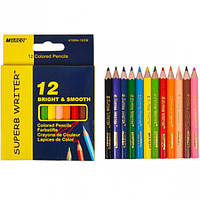 """Карандаши """"MARCO"""" Superb Writer 12 цветов №4100H-12CB. Набор цветных коротких карандашей для рисования."""