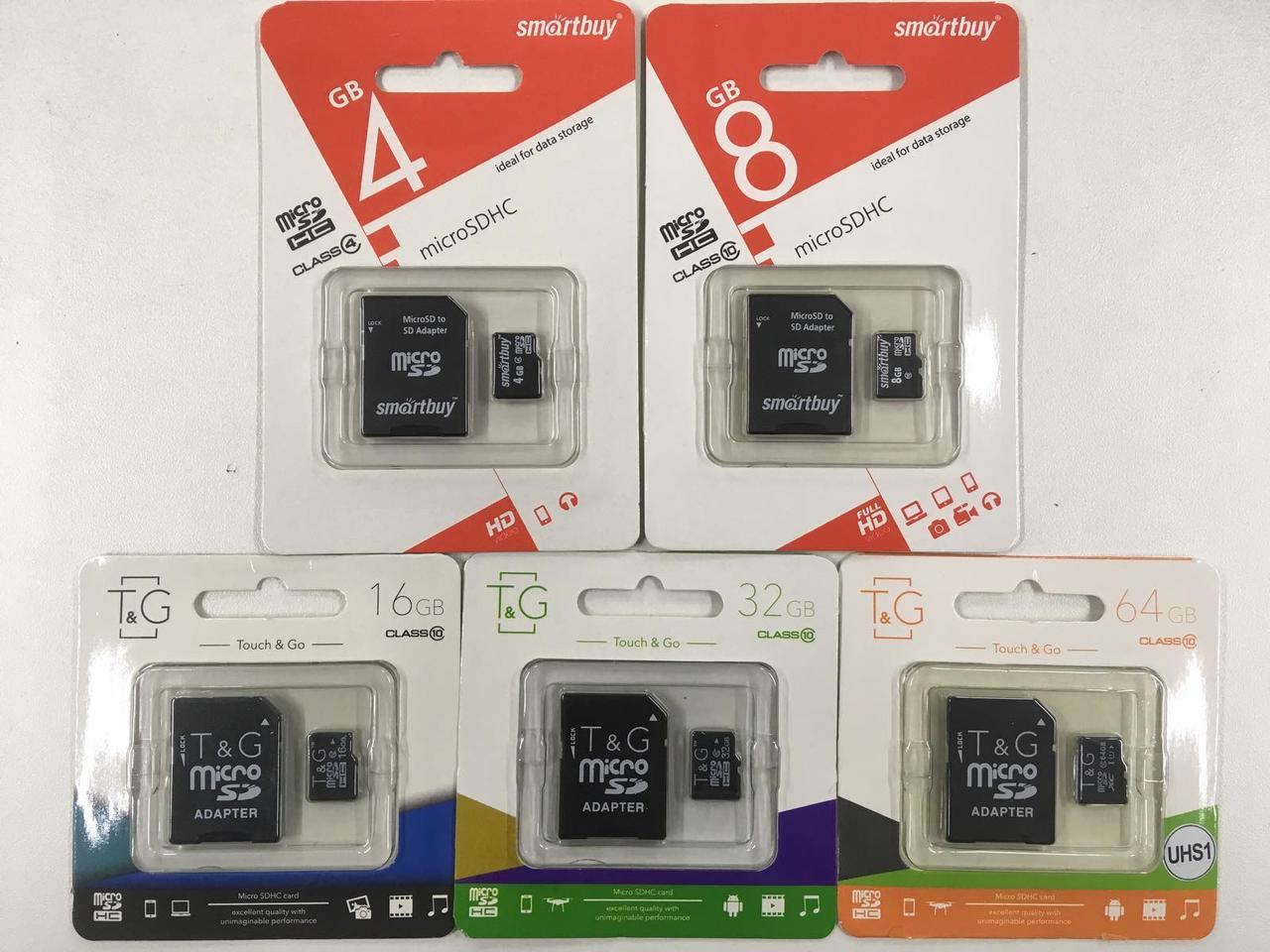 Карта памяти Smartbuy micro SDHC 4 GB Class 10 +адаптер