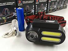 Налобный фонарь аккумуляторный WX 611 XPE+COB (240 шт/ящ)