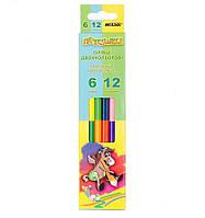"""Набор цветных двухсторонних карандашей MARCO """"Пегашка"""" 6 карандашей,12 цветов. Цветные карандаши для рисования"""