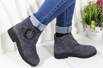 Серые ботиночки зима натуральный мех Berloni M227