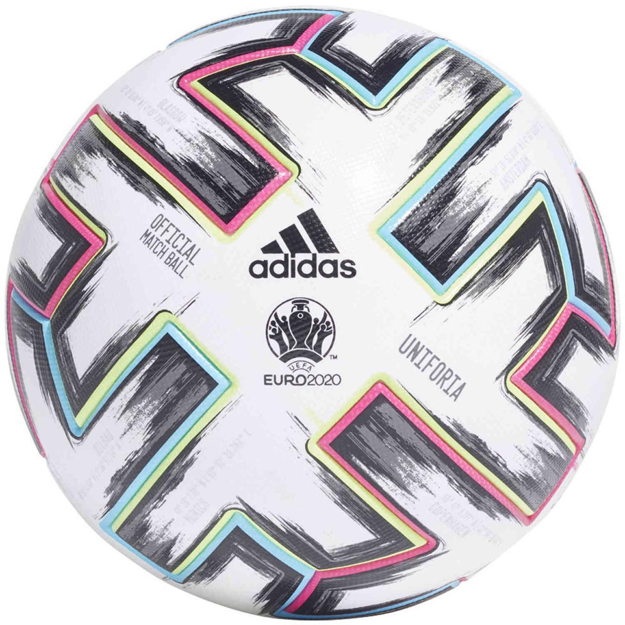 М'яч футбольний офіційний Adidas Uniforia Pro OMB Euro-2020 FH7362 Білий