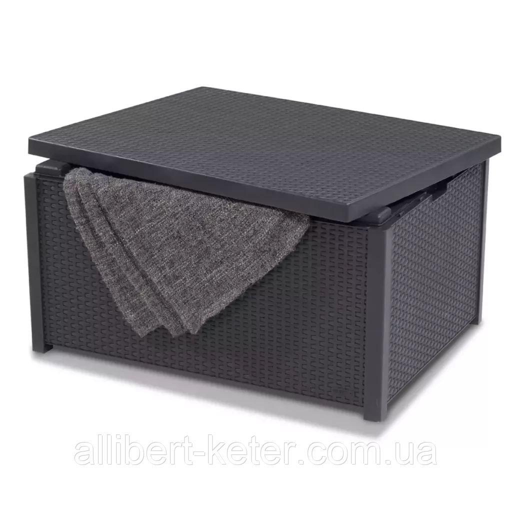Стол-сундук Allibert Arica Cushion Box Table Graphite ( графит ) из искусственного ротанга