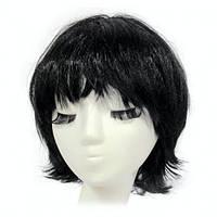 ПАРИК КАРЕ с челкой черный из искусственных волос.
