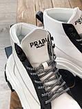 Кросівки Prada Milano Sneakers Block White Black (Кросівки Прада Мілано), фото 8
