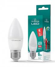 Лампа світлодіодна свіча С37 LED 6W E27 4100K Titanum