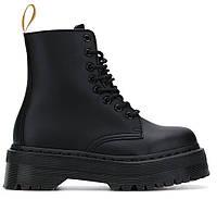 """Зимние Ботинки на меху Dr. Martens Jadon White Fur """"Full Black"""" - """"Полностью Черные"""" (Копия ААА+)"""