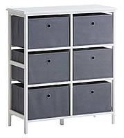 🏡Комод с 6-мя тканевыми ящиками бело серый  | Комод -шкафчик 2-х дверный, Комод -шкафчик, Комод, комод, тумбы 2-х дверная, фото 1