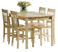 🏡Комплект кухонный мебели сосна (стол + 4 стула) натура | стол кухонный, стол и стул кухонный, комплект мебели, комплект кухонной мебели, стол и стул,, фото 1