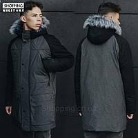 Парка куртка зимняя мужская серая с черным Стафф Staff wind black and grafit