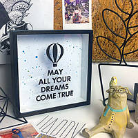 Деревянная копилка для денег May all your dreams come true (воздушный шар)
