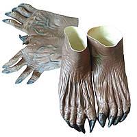 Взрослый Хэллоуин Оборотень Monster Руки Перчатки + Ноги Обувь Обложка Костюм Аксессуар-1TopShop
