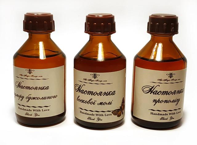Набір апіпродуктів (настоянки воскової молі, бджолиного підмору і прополісу, прополісна олія) от производителя апимаг апімаг apimag