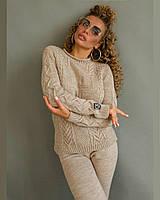 Женский костюм «Gip» из пряжи хлопок, шерсть, вискоза, штаны с карманами, манжеты (42-50)