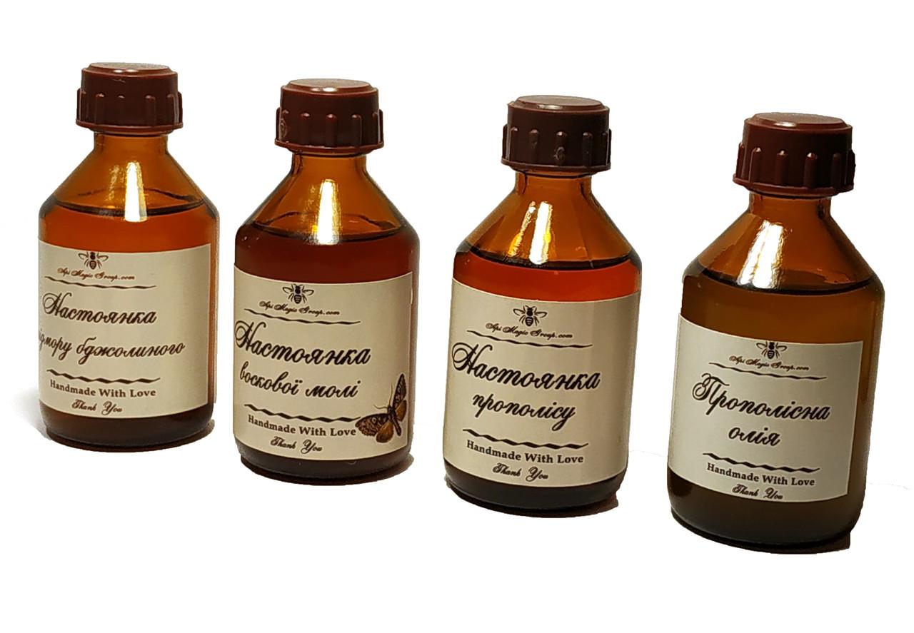 Набір апіпродуктів 4 шт (воскова моль, бджолиний підмор і прополіс, прополісна олія)