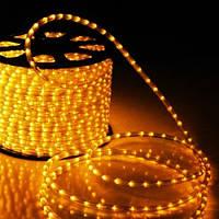 Гирлянда Дюралайт светодиодный шланг, Золотой (Теплый белый), круглый, 100м.