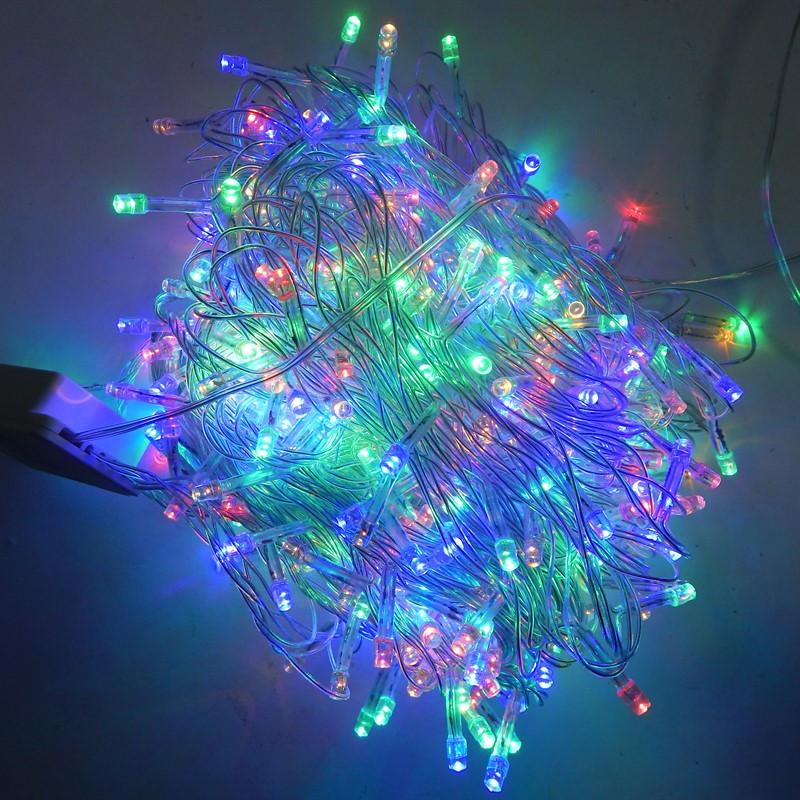 Гирлянда Нить электрическая 600 led, мульти, прозрачный провод, 25м.