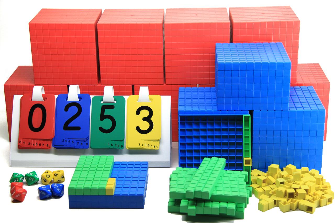 """Математичний куб, Набір """"Одиниці об'єму"""" на весь клас (1-10.000), 197 частини, пластик"""