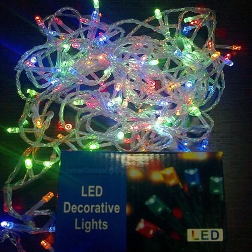 Гирлянда Нить электрическая 100 led, мульти, прозрачный провод, 6,5м.