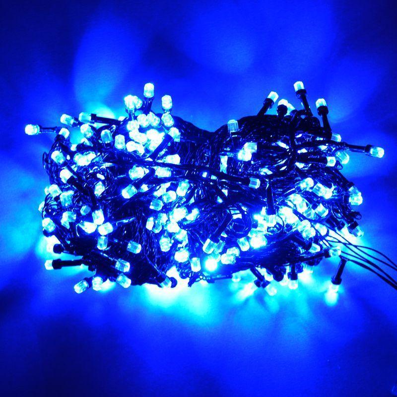 Гирлянда Нить Кристалл электрическая, 500 led, синий, черный провод, 19м.