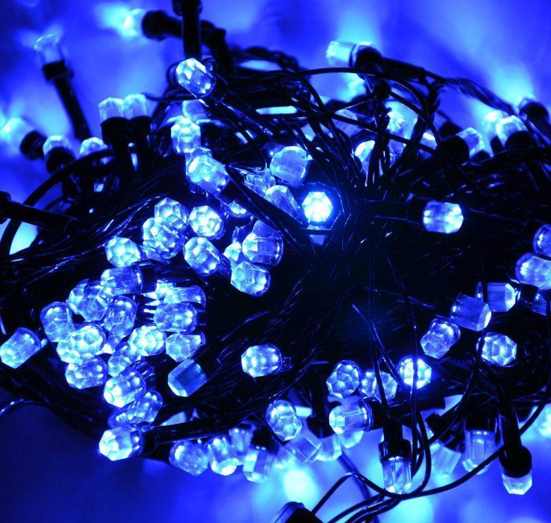 Гирлянда Нить Кристалл электрическая, 200 led, синяя, черный провод, 11м.