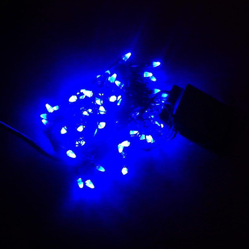 Гирлянда Нить Конус-Рис электрическая, 100 led, синяя, черный провод, 7,5м.