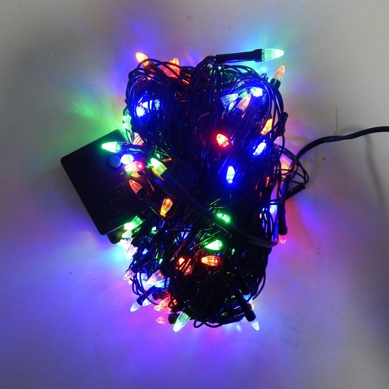 Гирлянда Нить Конус-Рис электрическая, 200 led, мульти, черный провод, 10,5м.