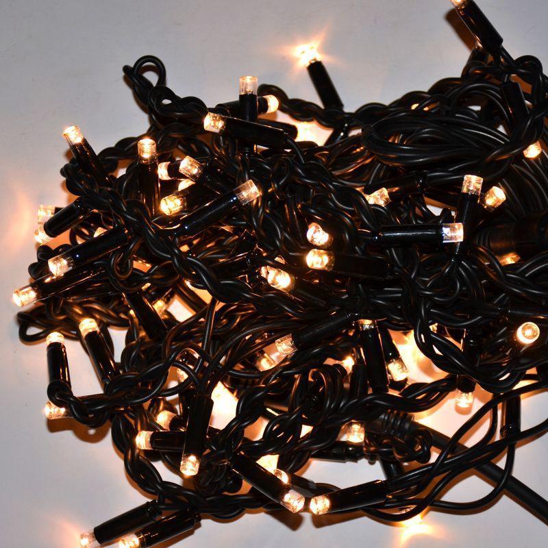 Гирлянда уличная Бахрома, 120 led, тёплый белый, чёрный провод, 3,3м.