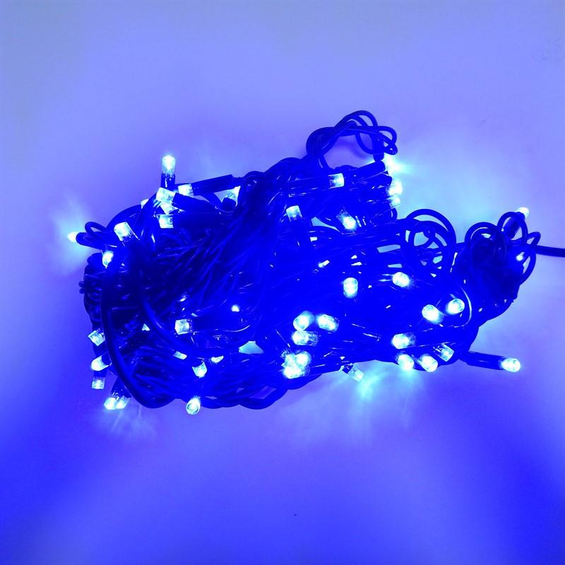 Гирлянда уличная Нить, 160 led, синяя, чёрный провод, 14,2м.