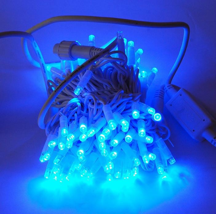 Гирлянда уличная Нить, 100 led, синяя, белый провод, 7,5м.