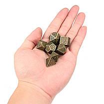 7шт. Тисненые тяжелые металлические многогранные кубики RPG Многогранные кубики с Сумка - 1TopShop, фото 3