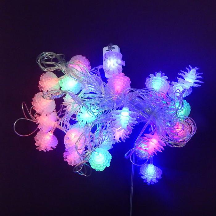 Гирлянда Шишка роза, 28 led, мульти, прозрачный провод, 3,7м.