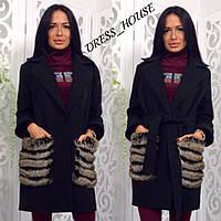 Пальто из кашемира с меховыми карманами tez50296