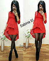 Облегающее платье с удлиненной баской tez7032446