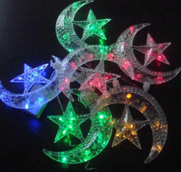 Гирлянда Луна и Звёзды (крупные фигуры), 6 lamp, размер фигурки: 15х13.5см, мульти, прозрачный провод, 1,7м.