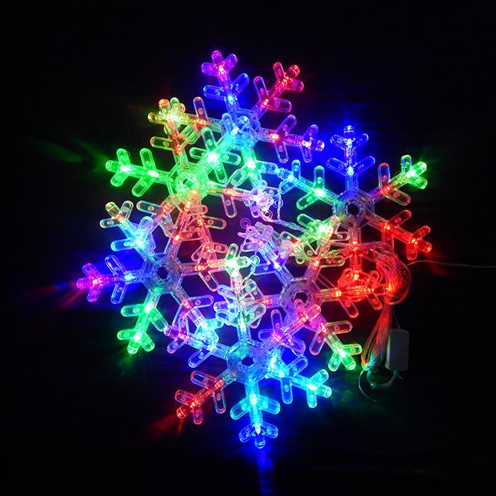 Гирлянда Снежинка (крупные фигуры), 6 lamp, размер фигурки: 18.5х18см, мульти, прозрачный провод, 1,5м.