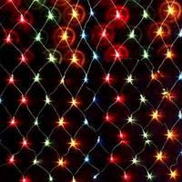Гирлянда Сетка, 240 led, мульти, прозрачный провод, 1х3м.