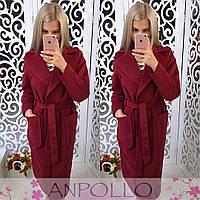 Женское кашемировое пальто ниже колена с поясом tez170217
