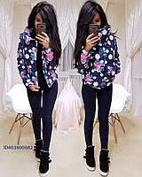 Женская зимняя короткая куртка с рисунком tez640134