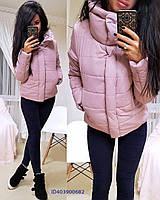 Однотонная женская теплая куртка на зиму короткая tez640135
