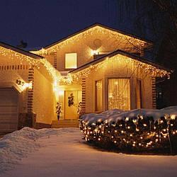Гирлянда уличная Бахрома, 100 led, теплый белый (золотой), белый/чёрный провод, 5м.