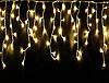 Гирлянда уличная Бахрома, 100 led, теплый белый (золотой), белый/чёрный провод, 5м., фото 3