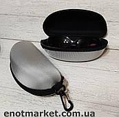 Футляр чехол бокс для очков универсальный на змейке с карабином серого цвета