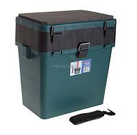 Ящик зимний рыбацкий Тонар Helios зеленый, пластик 19 л