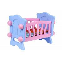 Кукольная кроватка для куклы и пупса ТЕХНОК с постельным бельем подушкой и одеялом пластиковая розово-голубая
