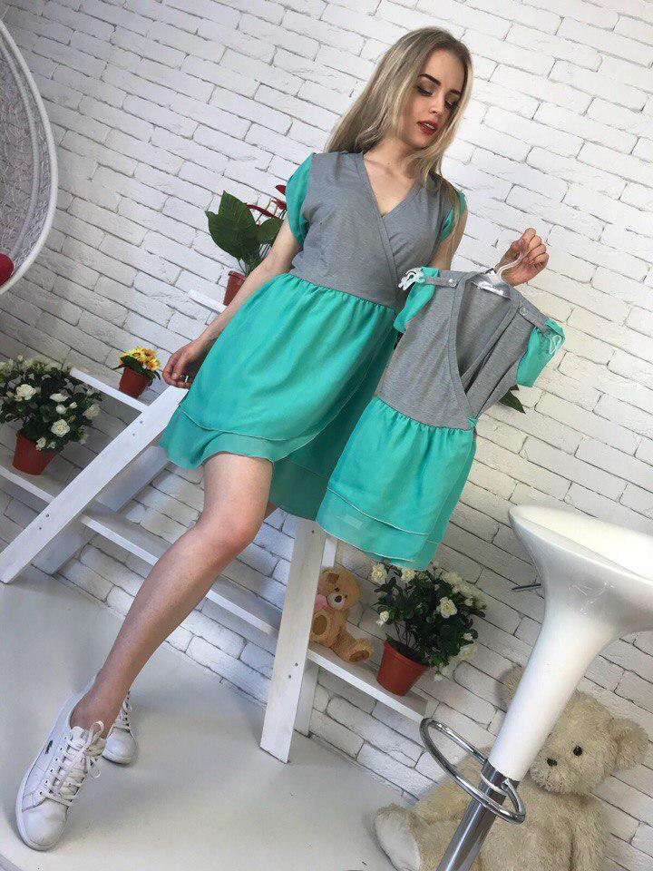 Одежда для мамы и дочки платье с шифоновой юбкой tez512102
