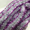 Новогодняя серебряная с малиновыми краями мишура 7см(пушистый дождик)длина около 2 м